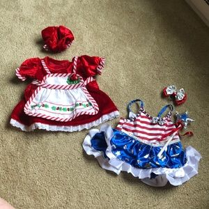 Build a bear Christmas and 4th of July outfit